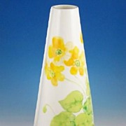 "Colorful Mikasa 8 1/4"" Conical Vase, Water Lilies, 1976-79"