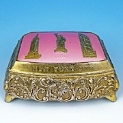 New York City Souvenir Brass-toned Trinket Box, Statue of Liberty, Empire State Building & Roc