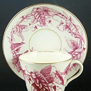1880, Antique Plum Transferware Staffordshire Cup & Saucer, English Registry Mark, 1880