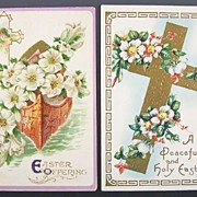 Pair of Gilded Embossed Easter Postcards, Boat of Galilee, Trumpet Lilies, Roses of Sharon, 19