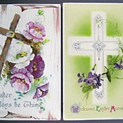 Pair of B. B. London Embossed Silver-Accented Easter Postcards, Ornate Silver Cross, Rugged Wo