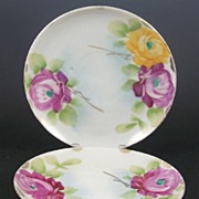 "Pair of Hand Painted Japanese 5 5/8"" Saucers, Magenta Pink and Sun Yellow Roses, early 1900s"