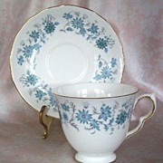 Vintage Colclough Cup & Saucer Set, Blue & White, Flowers