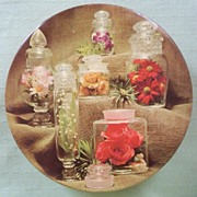 """Large Vintage Decorative 8 1/2"""" Tin Container, Display Jars Filled with Colorful Flowers,"""
