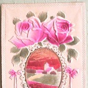 1915 Deeply Embossed Postcard, Shiny Red Foil Inset of Farmhouse, Pink Roses
