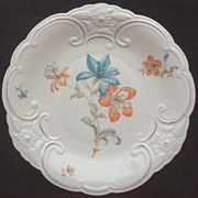 "Beautiful Vintage Bareuther & Co. Ornately Molded Gilded 11"" Platter, Tangerine and Turquoise Orchids, 1931-1950"