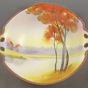 "Vibrant Nippon Hand Painted 7 1/4"" Bowl, Autumn Trees on Lake, Fiery Colors, Beading, Mark #47, 1911-1020s"