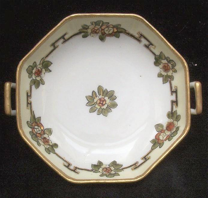 "Lovely Nippon Hand Painted Handled 6 1/4"" Bowl, White, Crimson & Gold Florals, Gold Beading, 1911-21"