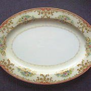 "Large (14 1/2"") Vintage Chatham China Meat Platter, Autumnal Scrolls and Filigree, Floral Bouquets, ca. 1950s-60s"