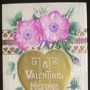 Early 1900s Deeply Embossed Textured Airbrushed Postcard, Luscious Pink Flowers & Golden Heart