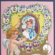 1909 Embossed Gilded Knox Postcard, Cupid Hangs Portrait of Colonial Lady in Floral Bonnet, He