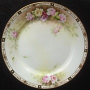 "Stylish Nippon Hand Painted 10"" Charger, Pastel Peonies, Intricate Gold Filigree and Beading, early 1900s"