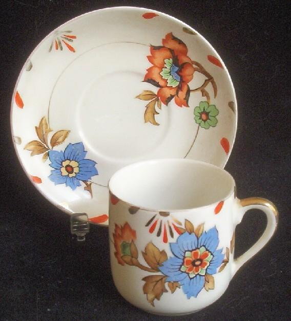 Lovely Vintage Demitasse Cup and Saucer, Gilded Oriental Style Florals in Imari Colors