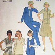 Vintage 1977 Sewing Pattern Simplicity 8411 - Skirt, Pants, Top & Unlined Jacket, Size 22 1/2