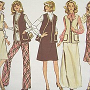 Vintage 1974 Sewing Pattern Simplicity 6525 - Dress/Jumper, Vest & Pants, Two Sizes 18 & 20, B