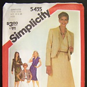 Vintage 1981 Sewing Pattern Simplicity 5435 - Pullover Dress with Lined Jacket, Two Sizes 18 &