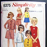 Vintage 1965 Sewing Pattern Simplicity 6375 - Girl's Blouses, Skirts & Suits, Size 12, Bust 30