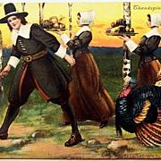 SOLD 1908 P. Sander Postcard, Pilgrims Gather for Thanksgiving Feast, Turkey on Leash
