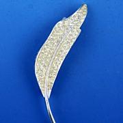 Elegant Pave Rhinestone Pin / Brooch in Silver-Tone Leaf Setting, 1950s-1960s