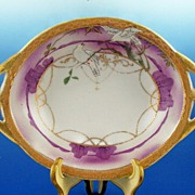 Delightful Nippon Handled Bowl, White Doves on Branches in Lavender Landscape, Gilded Chains, Beading, early 1900s