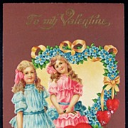 Early 1900s Embossed Gilded Chromo Postcard, Victorian Girls with Wagon of Hearts, Forget-me-n
