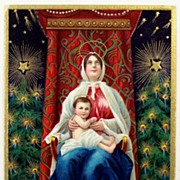 SOLD 1911 Embossed Gilded Postcard, Madonna as Queen of Heaven with Baby Jesus, Christmas Tree