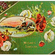Early 1900s Embossed Gilded Postcard, Man Brings Sheep Home, Windmill, White & Scarlet Poppies, Pansies, Violets
