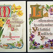 Pair of Early 1900s Gilded Embossed Motto Postcards, Daffodils & Orchids, Ornate Scrolling
