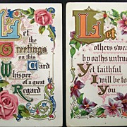 Pair of Gilded Embossed Motto Postcards, Roses & Orchids, Ornate Scrolling, 1910 & 1914