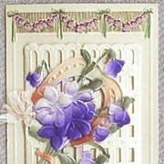 Early 1900s Embossed Gilded Die Cut Booklet, Violets, Horseshoe on Ornate Gate
