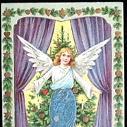 Early 1900s Embossed Gilded Postcard, Christmas Angel in Blue Metallic Gown Unveils Victorian