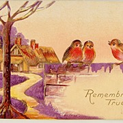 1910 Embossed Gilded Postcard, Robin Trio Welcomes Rosy Dawn with Song