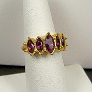 "Fancy ""Marquis Sparkle"" Ring with Faux Amethyst Teardrop Rhinestones, Size 7, 1993"