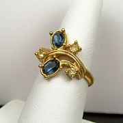 """""""Dazzling Facets"""" Faux Sapphire Ring with Deep Blue Stones & Clear Rhinestone Accent"""