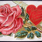 1910 Embossed Gilded Postcard, Luscious Pink Rose and Red Heart