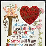 Early 1900s Embossed Gilded Motto Postcard, Fancy Lettered Love Verse, Cupids, Doves, Carnatio