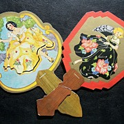 Pair of Early 1900s Bridge Tally Cards, Fans with Beautiful Ladies in Fancy Gowns