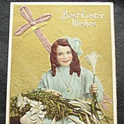 SOLD 1909 Embossed Gilded Chromo Meeker Postcard, Girl with Lapful of Easter Lilies