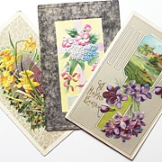 1910-12, Trio of Embossed Postcards, Violets, Daffodils, & Forget-me-nots, Gilded & Silvertone
