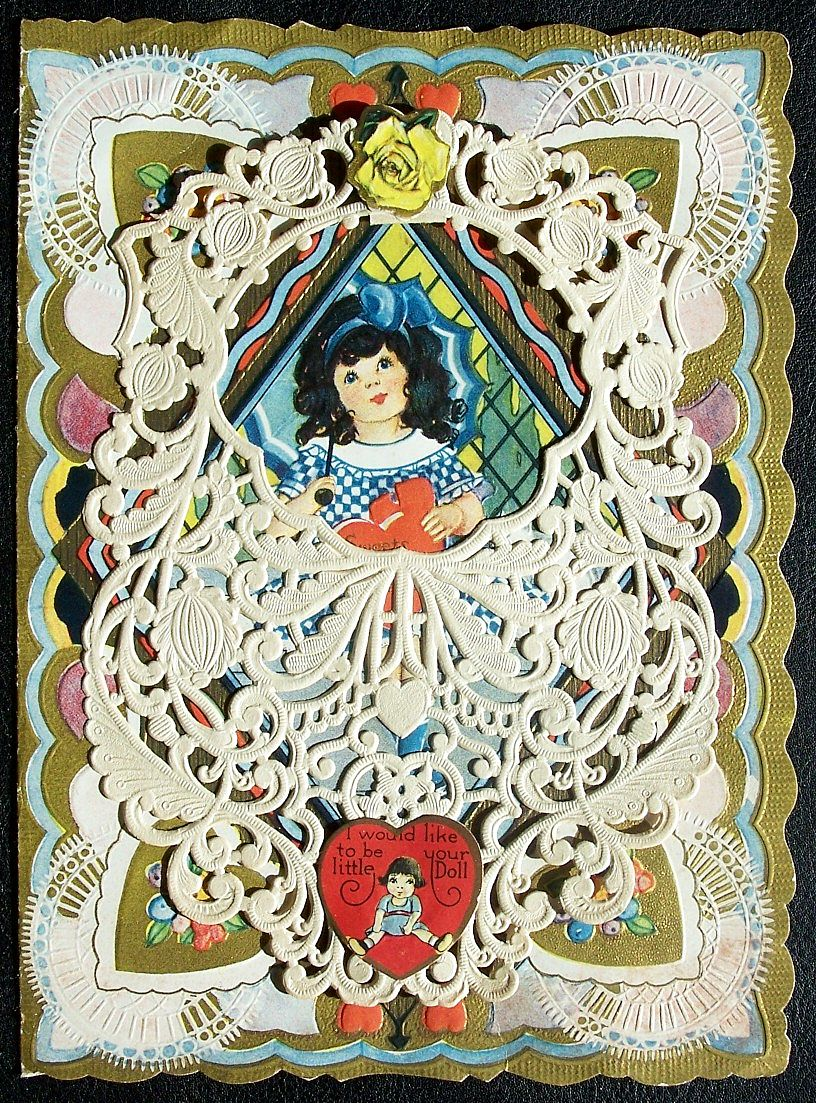 Early 1900s Carrington Die Cut, Layered, Lacy, Gilded Valentine, Girl with Parasol & Cat, Heart & Rose Appliques