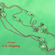 Delicate Lead Crystal Bead Necklace on Silver-tone Chain, MIB 1977
