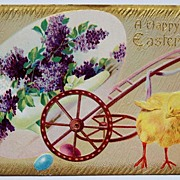 SOLD Early 1900s Embossed Gilded Postcard, Chick Pulls Wagon with Giant Egg - Filled with Vict