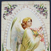 SOLD Early 1900s Embossed Silver Accents Postcard, Wonderful Angel in Church Window, Violets &