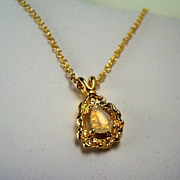Delicate Opal Drop Necklace with Gold-tone Chain and Faux Nugget Setting, Ronte of Beverly Hil