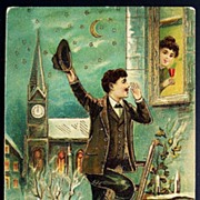 Early 1900s Embossed Gilded Postcard, Gentleman Climbs Ladder to Serenade His Lady Love at ...
