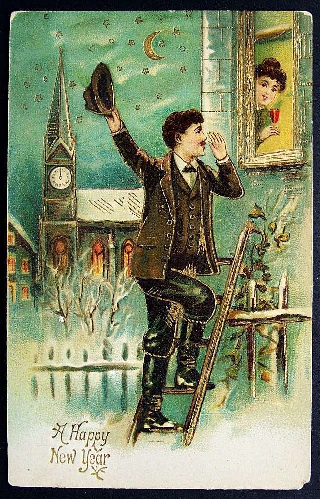 Early 1900s Embossed Gilded Postcard, Gentleman Climbs Ladder to Serenade His Lady Love at Midnight