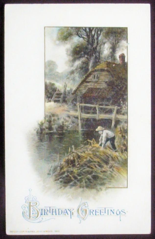 1913 Winsch Postcard, Nostalgic Summer Scene of Old Millhouse, Boy Explores the Riverbank