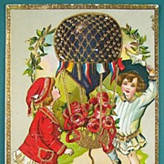 Early 1900s Embossed Gilded Gel Postcard, Children Celebrate Birthday with Fancy Aerial Balloo