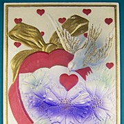 Early 1900s Embossed Gilded Airbrushed Postcard, Dove Flies  around Heart-shaped Box of Purple