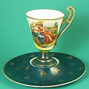 Elegant Austrian Cabinet Cup & Saucer, Inverted Well & Pedestal Cup, Two Maidens/Goddesses, after Kauffmann